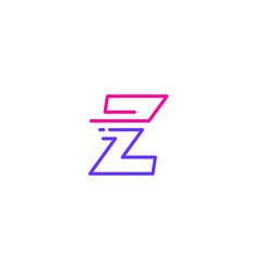Z letter dash lowercase tech digital fast quick vector