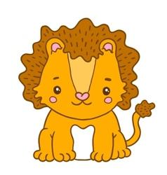 Cute cartoon baby lion vector