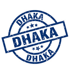 dhaka blue round grunge stamp vector image vector image