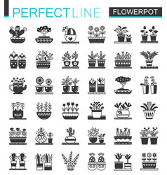 flowerpots classic black concept icons set vector image