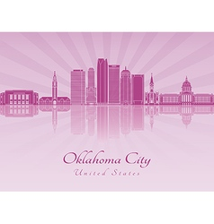 Oklahoma City V2 skyline in purple radiant orchid vector image vector image