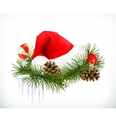 Santa Claus hat Christmas tree and cones vector image vector image