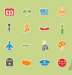 veterans day icon set vector image vector image