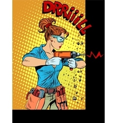 Woman drilling wall drill vector image vector image