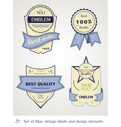 collection of blue vintage labels vector image vector image