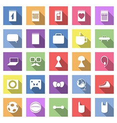 Flat icon set with long shadow for web vector image vector image