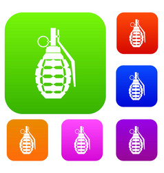 hand grenade bomb explosion set collection vector image vector image