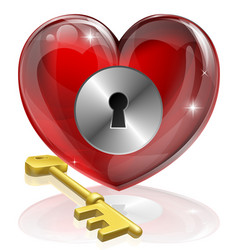 heart lock and key vector image vector image