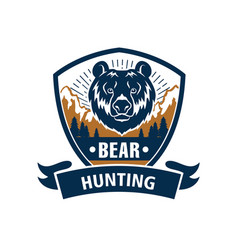 hunting sport or hunter club bear icon vector image