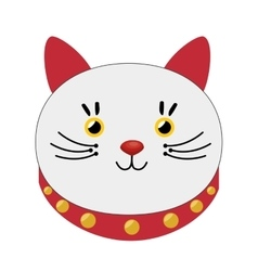 lucky cat hold coin japan icon vector image