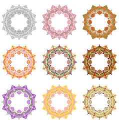 set mandala different color 45 vector image