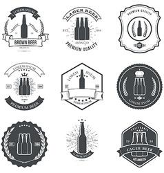 Set of vintage beer labels and design elements vector image