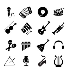 Assorted black musical instruments icons vector image