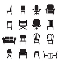 chair seating icons set vector image vector image