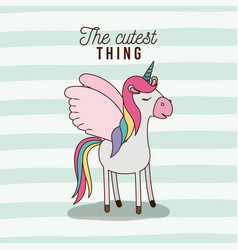 cutest thing poster of unicorn with wings and vector image vector image