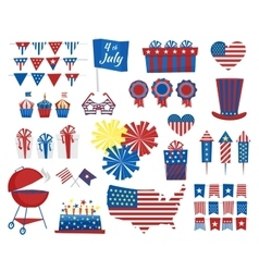 July 4 icons Independence Day of USA colors vector image