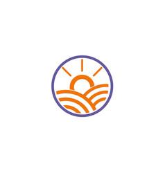 sun shine abstract line solar logo vector image
