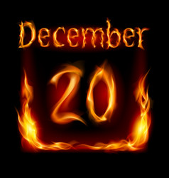 twentieth december in calendar of fire icon on vector image vector image