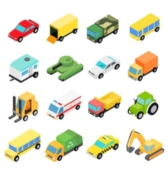 Types of automobiles isometric set vector image