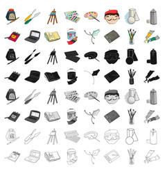 artist and drawing set icons in cartoon style big vector image