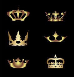 Golden royal crowns vector image