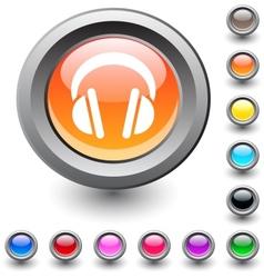 Headphones round button vector image vector image