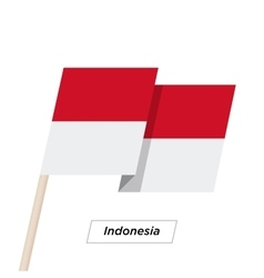 Indonesia Ribbon Waving Flag Isolated on White vector image vector image
