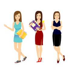 Set woman office worker in various situations vector image vector image