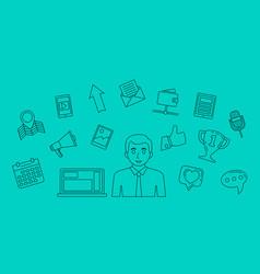 social media concept internet communication theme vector image
