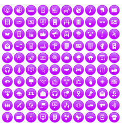 100 communication icons set purple vector
