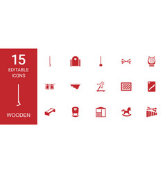 15 wooden icons vector image