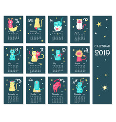 2019 zodiac calendar template with cute vector image