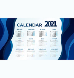 2021 calendar template design vector