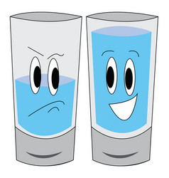 A sad half-full glass water and a happy full vector