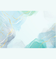 Abstract grey and turquoise liquid watercolor vector