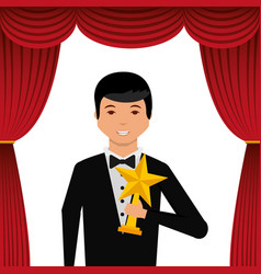 Actor wearing tuxedo holding gold star award vector