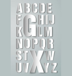 Alphabet made paper on white background vector