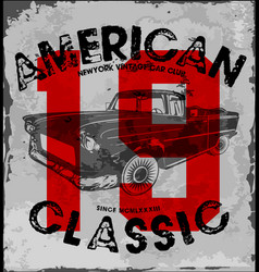 American classic car vintage race car for vector