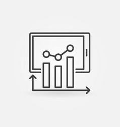 bar chart with tablet thin line analytics vector image