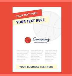 basket ball title page design for company profile vector image