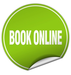 book online round green sticker isolated on white vector image