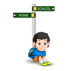 boy with sign street cartoon vector image