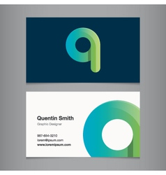 Business card letter q vector