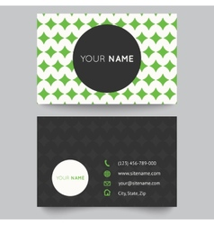 Business card template green and white pattern vector