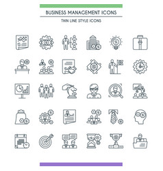 Business management line icons vector