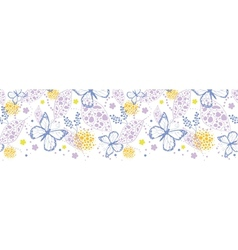 Butterfly garden horizontal seamless pattern vector