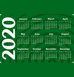 Calendar for 2020 vector