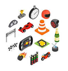 car racing isometric 3d icons vector image