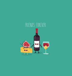 cheese fig and wine friends vector image