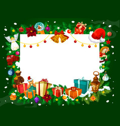 christmas frame of gifts and tree decorations vector image